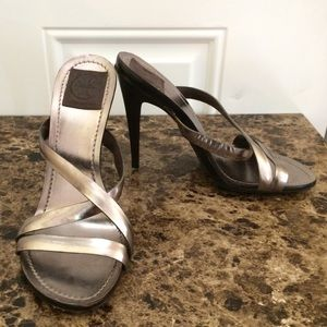 Tory Burch Silver Strappy Heels